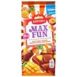 Шоколад молочный Корона Max Fun манго ананас маракуйя взрывная карамель и шипучие шарики 160г