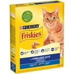 Корм сухой Friskies Sterilised для стерилизованных кошек и кастрированных котов с лососем и овощами 270г