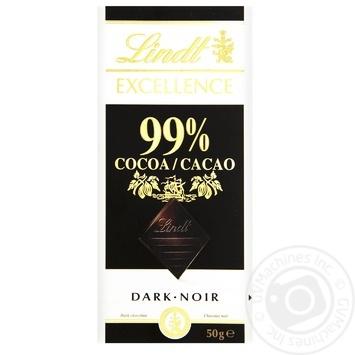 Шоколад черный Линдт Экселенс швейцарский горький в плитках 99% 50г