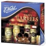Конфеты шоколадные E.Wedel Счастливая бочка с алкогольной начинкой 200г