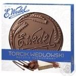 Торт E.Wedel Torcik Wedlowski вафельно-ореховый в темном шоколаде с декором ручной работы 250г