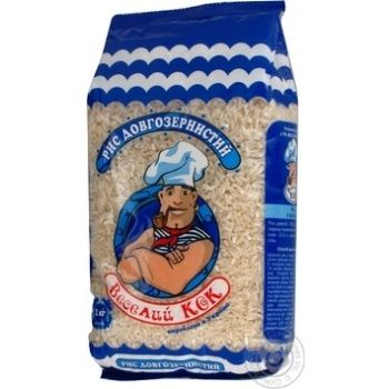 Рис Веселый Кок длиннозерный шлифованный 1000г - купить, цены на МегаМаркет - фото 1