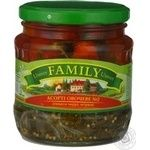 Assorted tomato cornichon Family canned 480ml glass jar Ukraine
