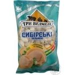 Пельмени Три медведя Сибирские с говядиной и свининой замороженные 900г Украина