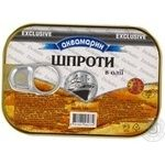 Sprats Akvamaryn in oil 100g can