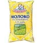 Молоко Добряна пастеризованное 3.2% пленка 1000г Украина
