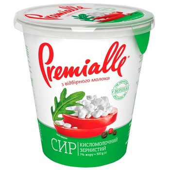 Сир кисломолочний Premialle зернистий 7% 300г