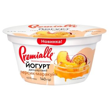 Premialle Peach-Passion Fruit Flavored Yogurt 6,5% 140g