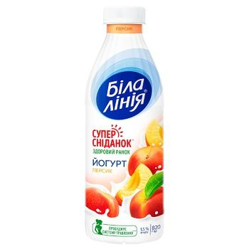 Bila Liniya Peach Yogurt 1,5% 820g - buy, prices for CityMarket - photo 1