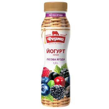Йогурт Ферма Лісова ягода 1,5% 250г - купити, ціни на Ашан - фото 1
