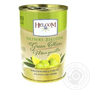 Оливки Helcom зеленые фаршированные лимон 300мл - купить, цены на Фуршет - фото 1
