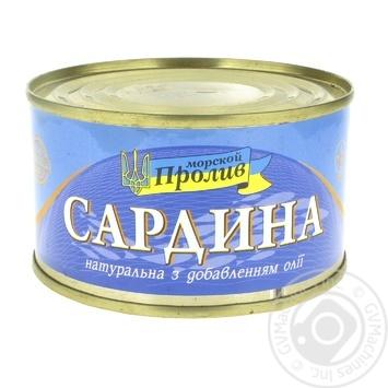 Сардини Морской Пролив натуральные с добавлением масла 240г - купить, цены на Novus - фото 1