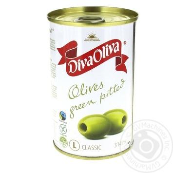 Оливки Diva Oliva зелені без кісточки 300г - купити, ціни на МегаМаркет - фото 1