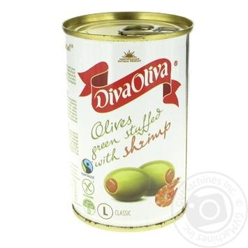 Оливки Diva Oliva зеленые с креветкой 300г - купить, цены на Фуршет - фото 1