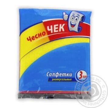 Серветки універсальні ЧесноЧек 3шт - купить, цены на Фуршет - фото 1