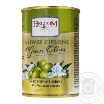 Оливки зеленые фаршированные сыром Helcom 300мл - купить, цены на Фуршет - фото 1