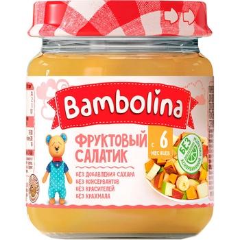 Пюре Bambolina фруктовый салат банан груша персик 100г - купить, цены на СитиМаркет - фото 1