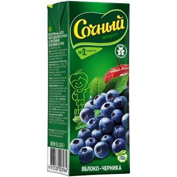 Нектар Сочный фрукт Яблоко-Черника с мякотью для детского питания 0,2л