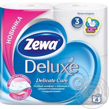 Туалетная бумага Zewa Deluxe Delicate Care белая 3-х слойная 4шт - купить, цены на Novus - фото 1
