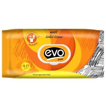 Бумага туалетная Evo Home влажная 48шт