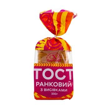 Хлеб Царь Хлеб Тост Утренний с отрубями нарезанный ломтиками в упаковке 330г
