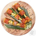 Chilled In Marinade With Vegetables Salmon Kebab