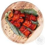 Chilled With Zyucchini And Onion In Marinade Salmon Kebab