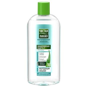 Мицеллярная вода Чистая линия Алоэ-вера для нормальной и комбинированной кожи 3в1 400мл - купить, цены на Novus - фото 1