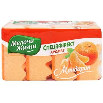 Melochi zhizni Special Effect Kitchen Sponge with mandarin flavor 4pcs - buy, prices for Tavria V - image 1