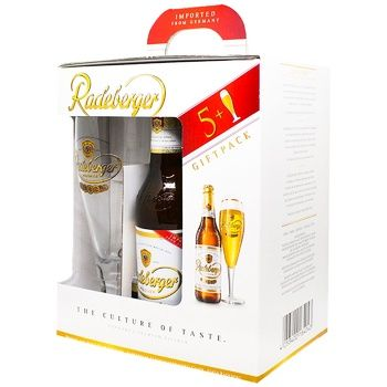 Пиво Radeberg 4,8% 5шт 0,3л + 0,2л бокал