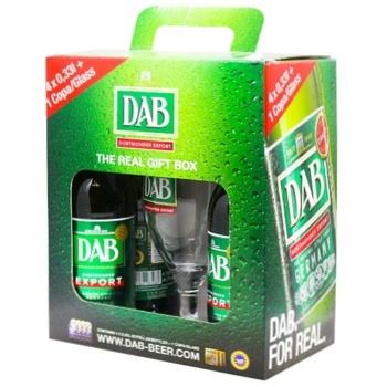 Подарочный набор Пиво Dab светлое фильтрованное 5% 0,33л 4шт + бокал 0,25 л