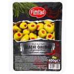 Оливки Fimtad зелені фаршировані червоним перцем 400г