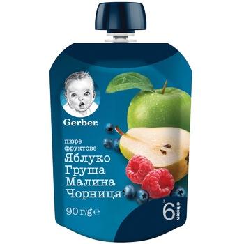 Gerber for children peach-apple-raspberry-bilberry puree 90g - buy, prices for CityMarket - photo 1