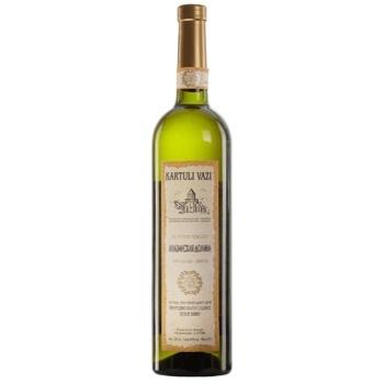 Вино белое Картули Вази Алазанская Долина натуральное виноградное высококачественное полусладкое 10.5% 750мл