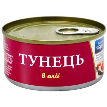 Тунец Фиш Лайн целый в масле 185г - купить, цены на Космос - фото 1