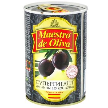 Маслины Maestro de Oliva Супергигант без косточки с/б 425г - купить, цены на Метро - фото 2