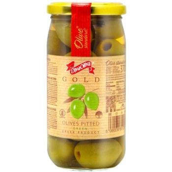 Оливки DivaOliva зелені без кісточки скляна банка 370мл - купити, ціни на ЕКО Маркет - фото 1