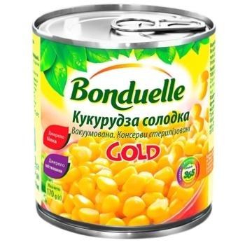 Кукуруза Бондюэль Голд сладкая консервированная 425мл - купить, цены на Ашан - фото 1