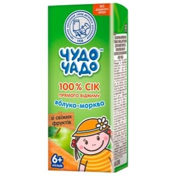 Сік яблучно-морквяний прямого віджиму без цукру Чудо-Чадо від 6-ти місяців 200мл - купити, ціни на Ашан - фото 1