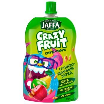 """Смузи-пюре Jaffa Crazy Fruit """"Грушево-яблочный заряд"""" Груша-яблоко-злаки 100мл"""