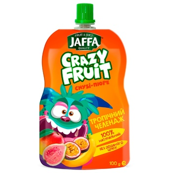 "Смузі-пюре Jaffa Crazy Fruit ""Тропічний челендж"" Манго-банан-гуава-маракуйя 100мл - купити, ціни на CітіМаркет - фото 1"