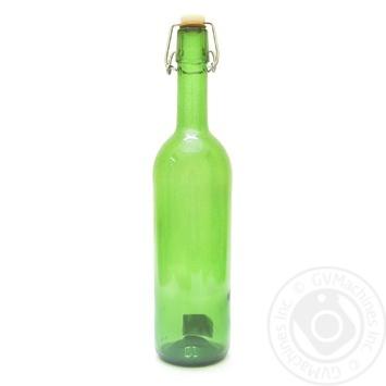 Бутылка стеклянная с замком зеленая 0,75л