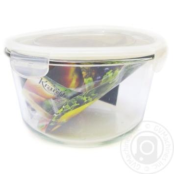 Ємність скляна кругла 1650мл з герметичною пластиковою кришкою. - купити, ціни на МегаМаркет - фото 1
