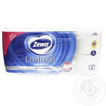 Туалетная бумага Zewa Deluxe Pure белая 3-х слойная 8шт - купить, цены на Novus - фото 2