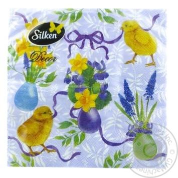 Салфетки бумажные трехслойные Silken Пасхальные 33х33см 18шт. в ассортименте - купить, цены на МегаМаркет - фото 3