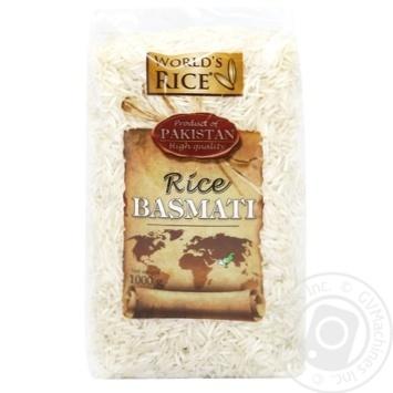 Рис World's Rice Басмати шлифованный длиннозернистый 1кг - купить, цены на МегаМаркет - фото 1