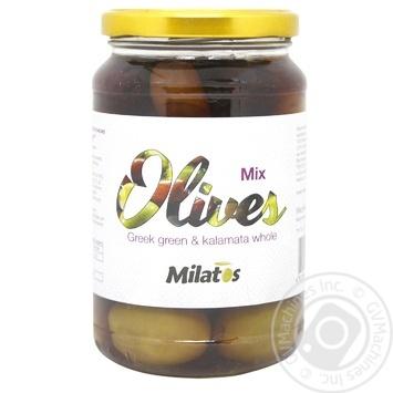 Оливки ассорти Milatos с косточкой 350г - купить, цены на Novus - фото 1