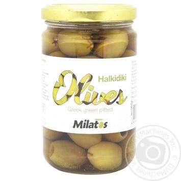 Оливки Milatos зелені без кісточок 280г - купити, ціни на МегаМаркет - фото 1