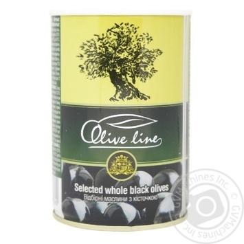 Маслини чорні Olive Line з кісточкою 420г