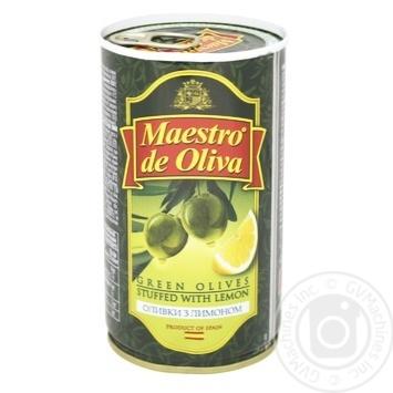 Оливки Маэстро де Олива зеленые с лимоном 370мл